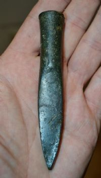 "A rare and superb, Mid-Late Bronze age, bronze ""Norfolk Type"" socketed chisel / gouge from Sparnham, Norfolk. SOLD"